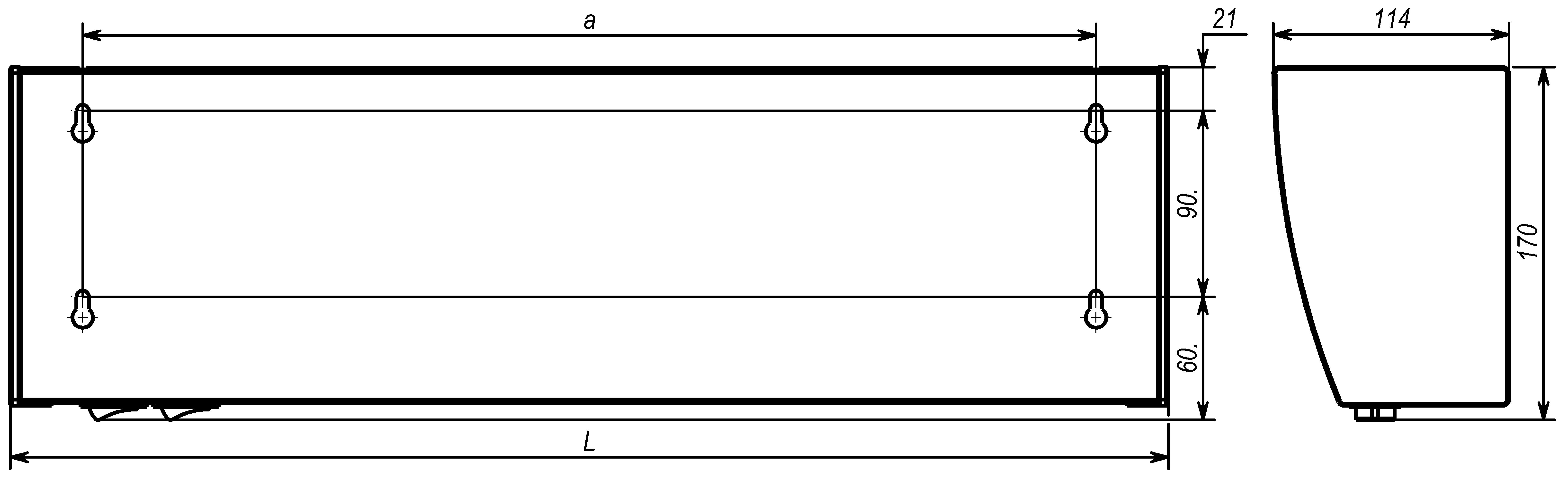 Габаритные и установочные размеры тепловой завесы Tropik Line А5