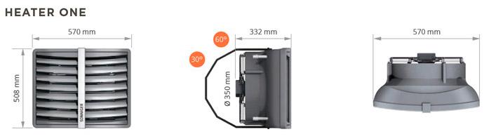 Размеры тепловентилятора Heater One