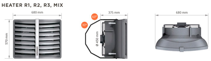 Размеры тепловентилятора Heater R1