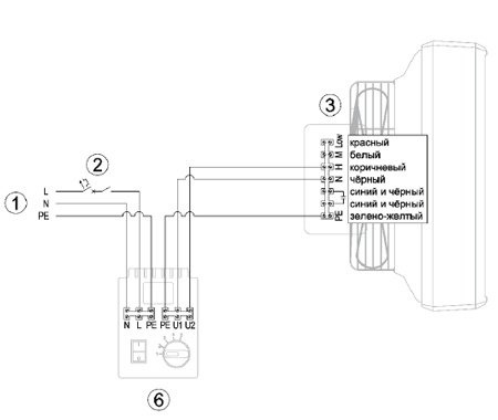 Схема подключения тепловентилятора Reventon Farmer HCF IP65 с регулятором HC
