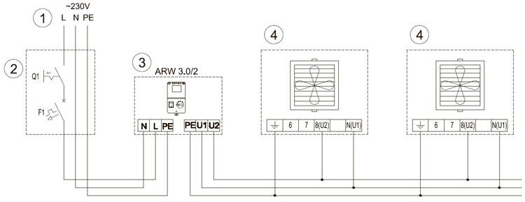 схема подключения водяной пушки Волкано к регулятору скорости ARW3.0/2