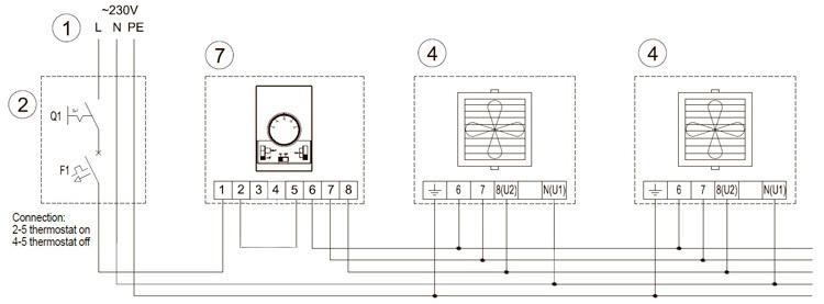 Схема подключения тепловентилятров Волкано к регулятору DX