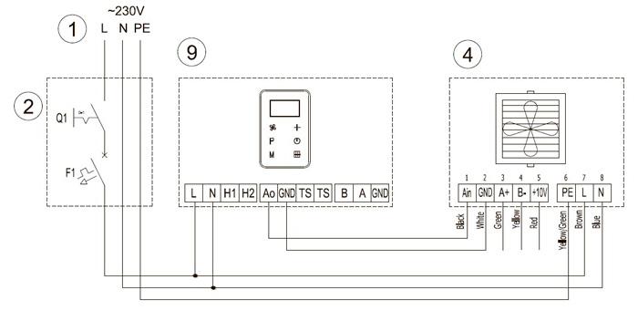 схема подключения тепловентиляторов Волкано с контроллером HMI EC