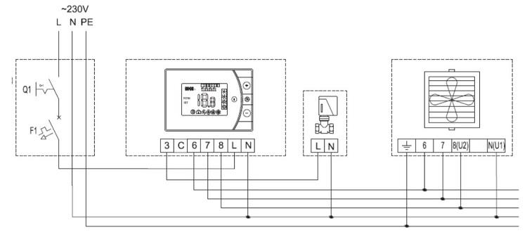 схема подключения водяной пушки Волкано с термостатом EH20.3 и клапаном с сервоприводом