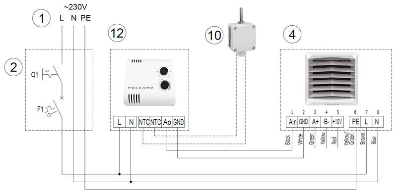 Электрическая схема с потенциометром для версии с ЕС-двигателем
