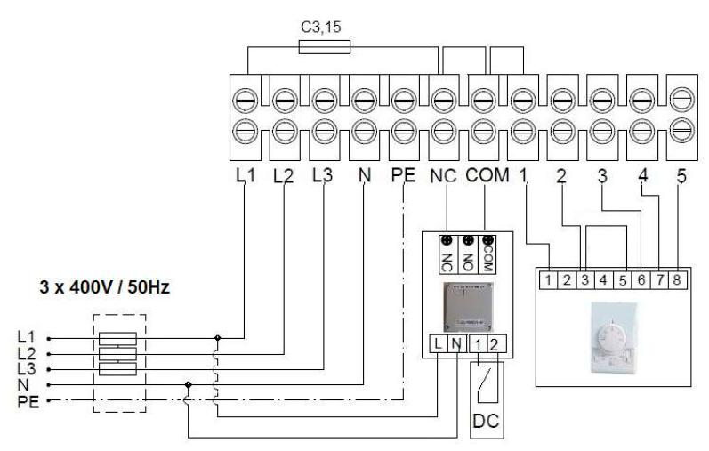 Схема подключения 1 завесы Guard 150E к пульту Comfort