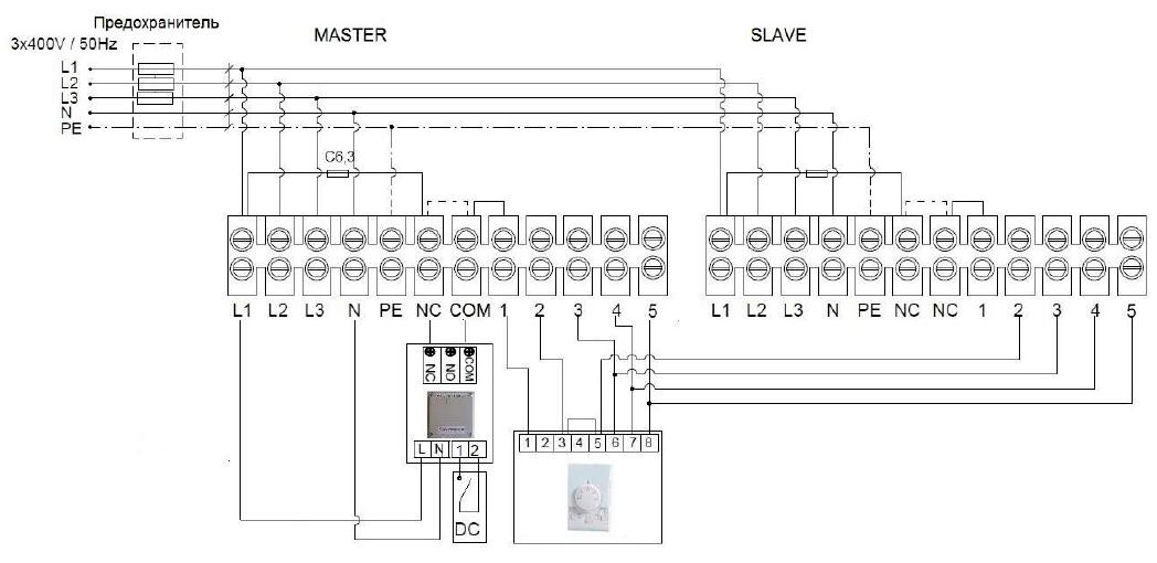 Схема для 2 завес Guard 150E к 1 пульту