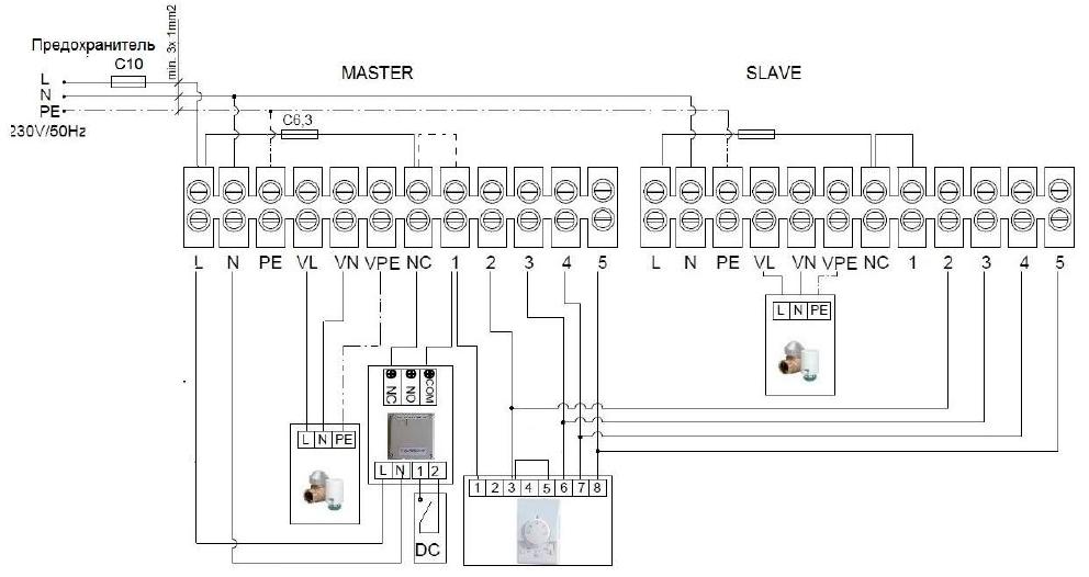 Электросхема подключения 2 завес Guard 100С к пульту Comfort