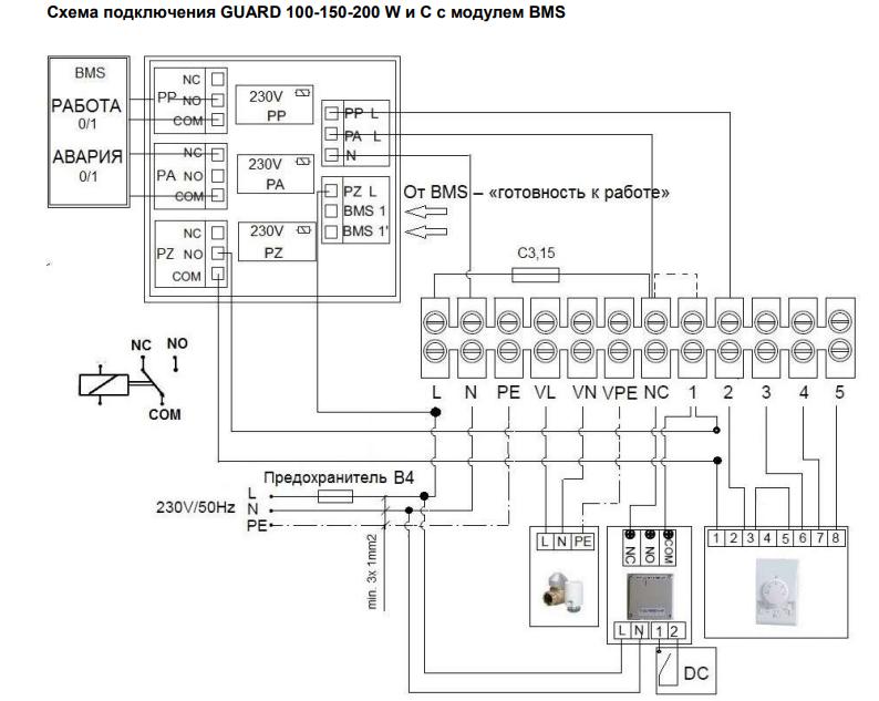Схема подключения завес guard с модулем bms