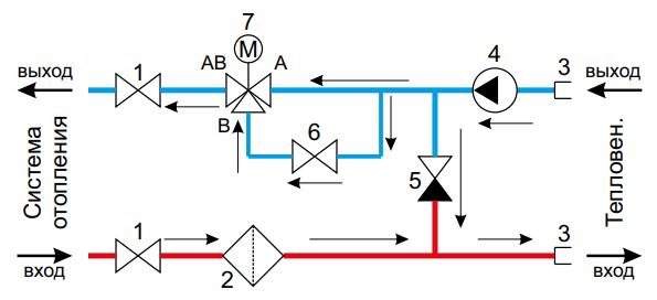 Схема терморегулировки с циркуляционным насосом
