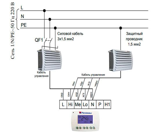 Подключение 2 тепловентиляторов Тепломаш КЭВ-49Т3,5W2 к пульту HL10
