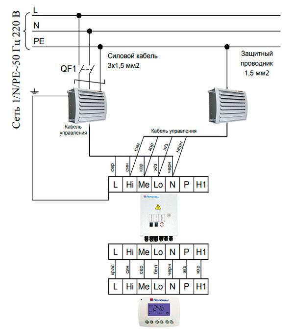 Подключение 2 тепловентиляторов Тепломаш КЭВ-60Т3,5W3 к пульту HL10 через ПКУ-W1