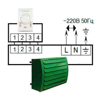 Электрическая схема тепловентилятора Tropik Line Aero 25D35 с пультом TL3a