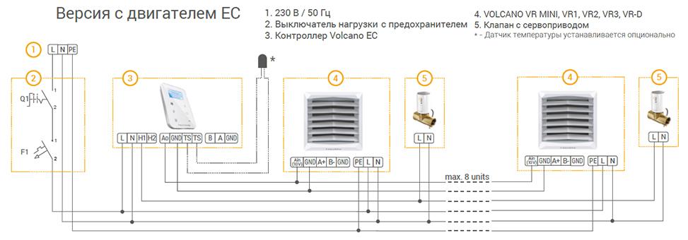 Электрическая схема для версии с ЕС-двигателем